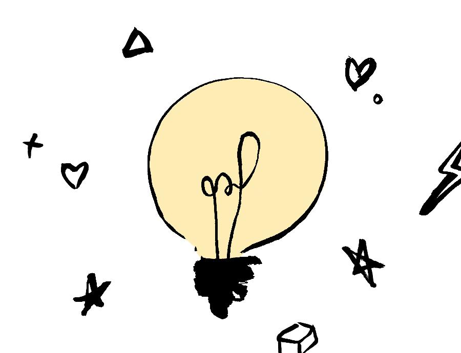 Bulb representing school pupils' creative ideas