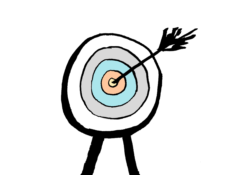 Bullseye and an arrow representing a purpose of school pupils' creative writing